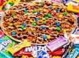 The caramel pretzel pizza at Sweetie's Candy Cottage