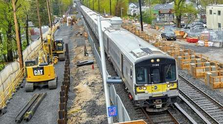 Third Track construction under way at the LIRR