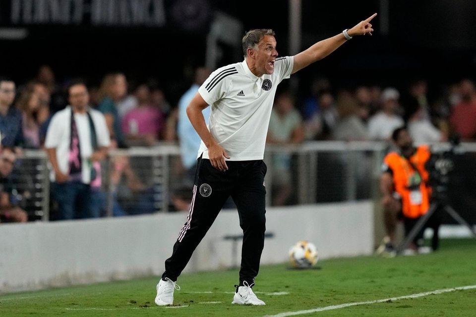 Inter Miami head coach Phil Neville shouts to