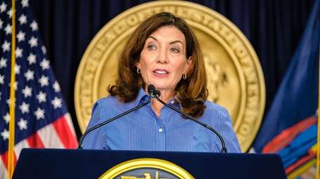 Gov Kathy Hochul speaks during a news conference
