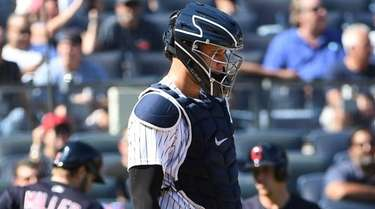 Yankees catcher Gary Sanchez stands at home plate