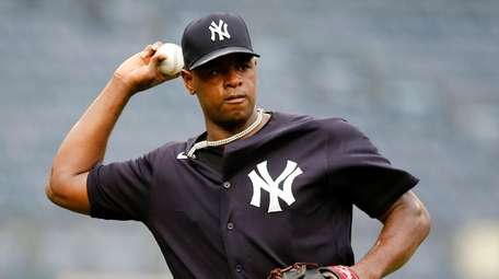 Luis Severino #40 of the Yankees works out