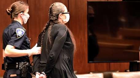 Angela Pollina appears at a hearing in front