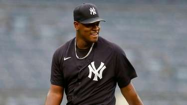 Luis Severino #40 of the Yankees looks on