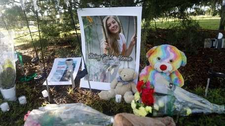 A makeshift memorial dedicated to Gabby Petito in