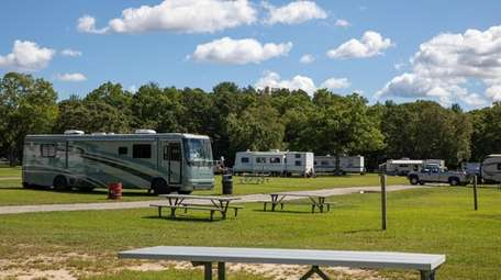 The campground at Cathedral Pines County Park, which