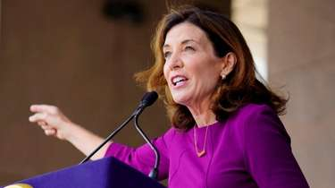 New York Governor Kathy Hochul speaks at a