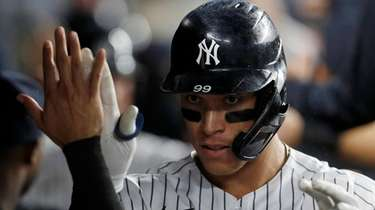 Aaron Judge of the Yankees celebrates his seventh-inning