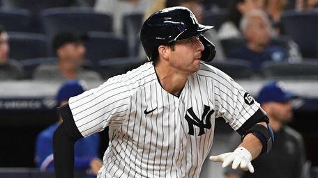 Yankees catcher Kyle Higashioka runs on his two-run