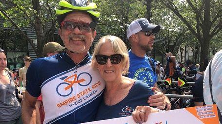 Glenn Olszewski, and his wife, Darlene Olszewski, celebrate