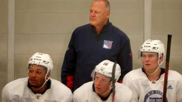 Rangers head coach Gerard Gallant watches from the