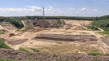 Mining operations at the Noyac sand mine, known