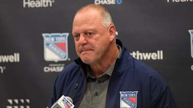 Rangers head coach Gerard Gallant speaks to the