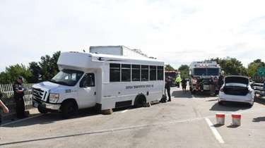 A tractor trailer collided with a mini bus