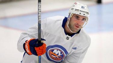 Islanders right wing Kyle Palmieri skates during training