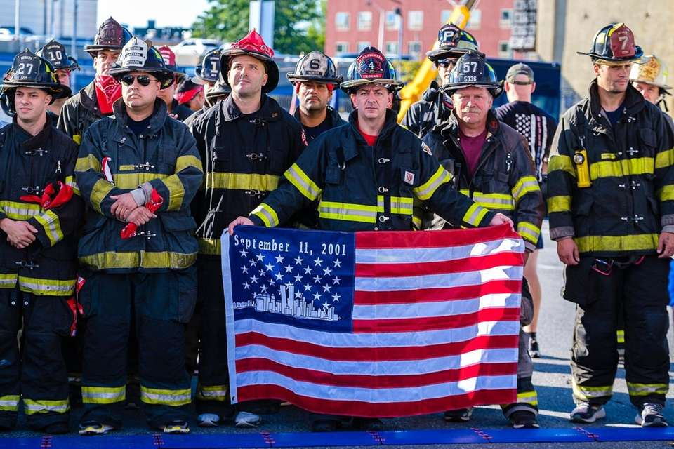 Anthony Locks, a firefighter from France displays a