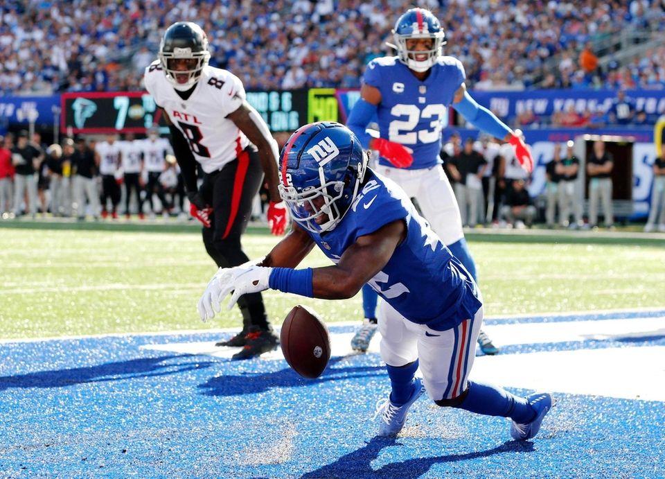 Adoree' Jackson of the New York Giants misses
