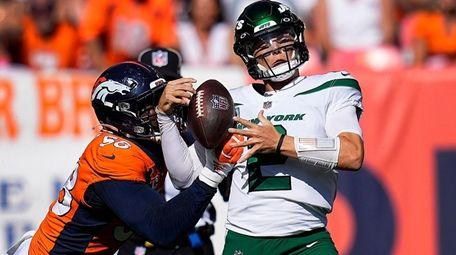 New York Jets quarterback Zach Wilson is sacked