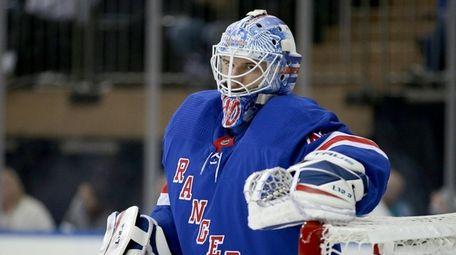 Rangers goalie Alexandar Georgiev (40) reacts after a