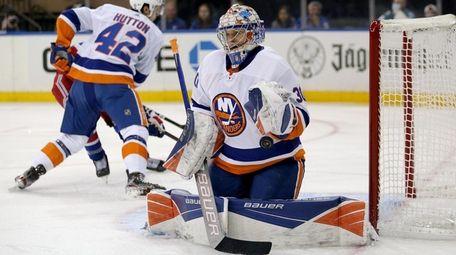 Islanders goalie Ilya Sorokin makes a save against