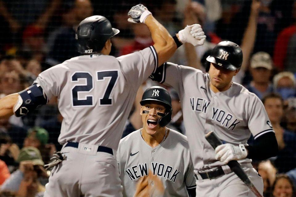 New York Yankees' Giancarlo Stanton celebrates his two-run