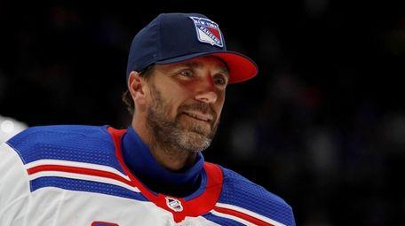 Henrik Lundqvist of the New York Rangers skates