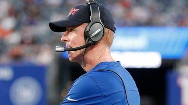 New York Giants offensive coordinator Jason Garrett looks