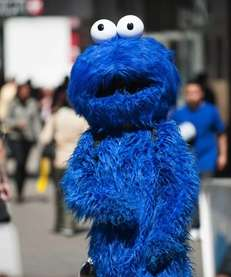 A person dressed as the Cookie Monster works