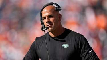 Jets head coach Robert Saleh watches during the
