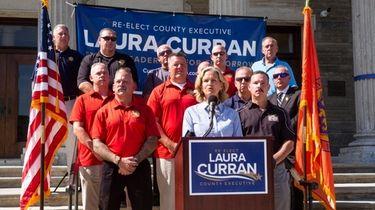 Nassau County Executive Laura Curran aceepts the Nassau