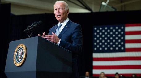 President Joe Biden speaks in Crystal Lake, Ill.,