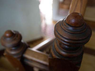 Detail of the interior bannister at a historic