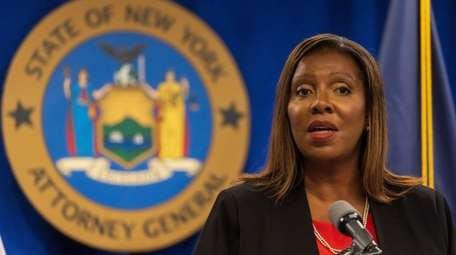 State Attorney General Letitia James speaks during a