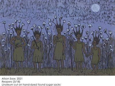 Alison Saar (American, b. 1956) Reapers, 2021 Linoleum