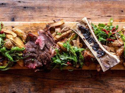 Dry-aged steak board at Salumi restaurant in Massapequa,