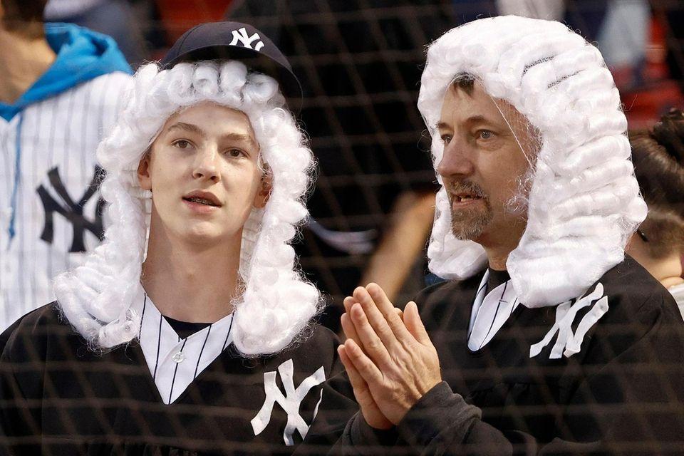 BOSTON, MASSACHUSETTS - OCTOBER 05: Fans look on