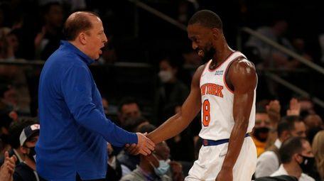 Head coach Tom Thibodeau of the Knicks greets