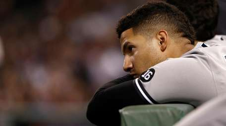 Gleyber Torres of the New York Yankees reacts