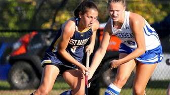 West Babylon forward Lacey Downey sets up for