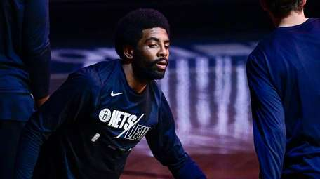 Kyrie Irving of the Nets is introduced prior
