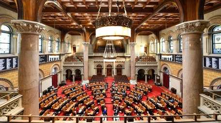 Members of the New York Assembly debate budget