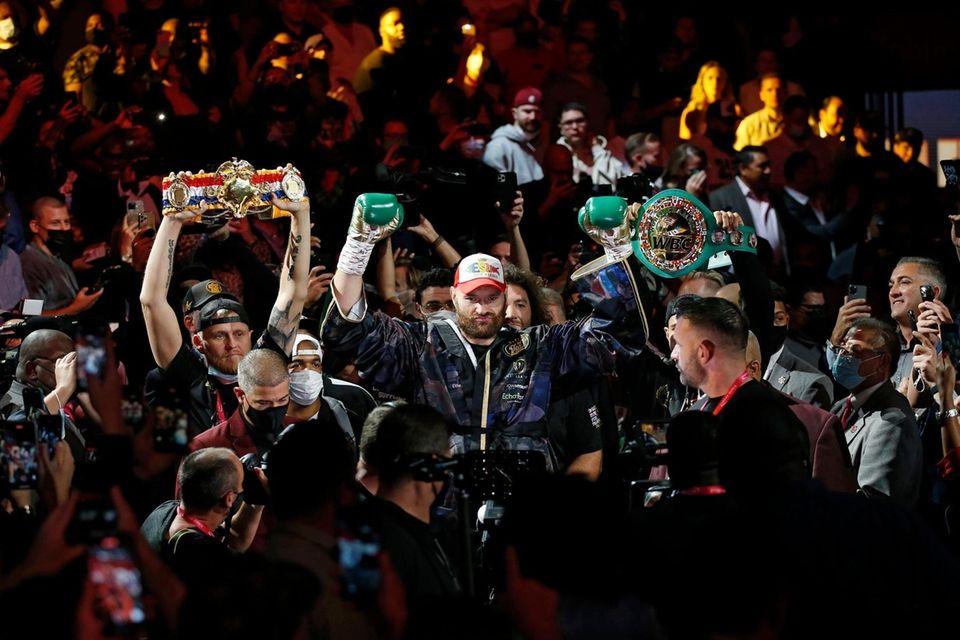 Tyson Fury, of England, arrives for a heavyweight