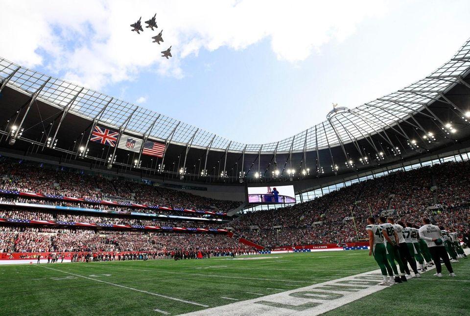 Jets fly over the stadium as Marisha Wallace