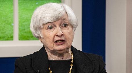 Treasury Secretary Janet Yellen speaks during a meeting