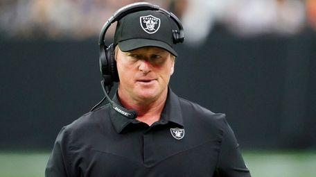 Raiders head coach John Gruden reacts during the