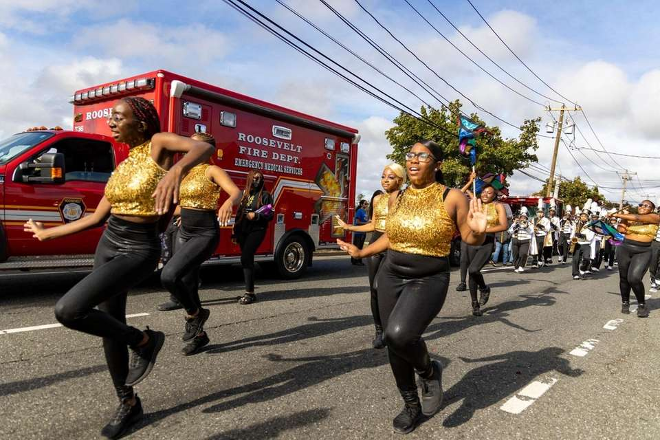 Members of the Uniondale High School Marching Band