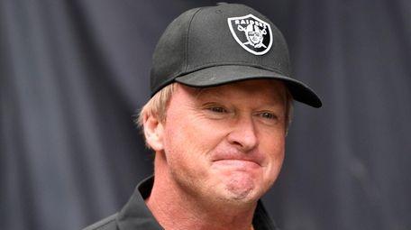 Las Vegas Raiders head coach Jon Gruden walks