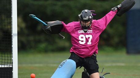 Mackenzie Wehrum #97, Garden City goalie, makes a
