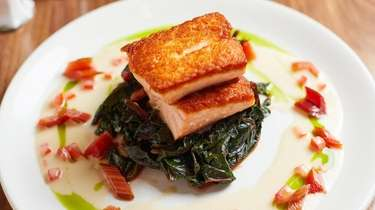 Roasted salmon with sauteed spinach and rainbow swiss