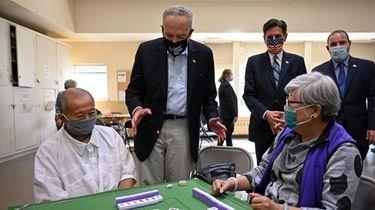Sen. Chuck Schumer speaks with seniors on Thursday